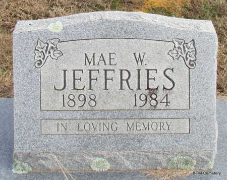 JEFFRIES, MAE W - Faulkner County, Arkansas | MAE W JEFFRIES - Arkansas Gravestone Photos