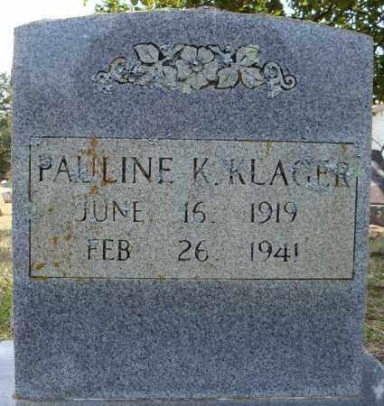 KLAGER, PAULINE K. - Faulkner County, Arkansas | PAULINE K. KLAGER - Arkansas Gravestone Photos