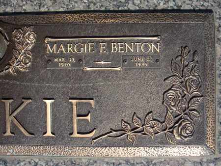 BENTON LACKIE, MARGIE E. (CLOSE UP) - Faulkner County, Arkansas | MARGIE E. (CLOSE UP) BENTON LACKIE - Arkansas Gravestone Photos