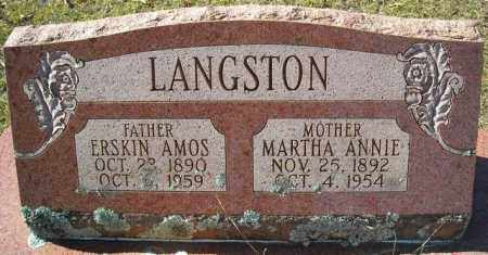 LANGSTON, MARTHA ANNIE - Faulkner County, Arkansas | MARTHA ANNIE LANGSTON - Arkansas Gravestone Photos