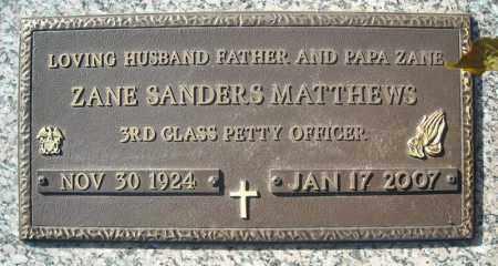 MATTHEWS (VETERAN), ZANE SANDERS - Faulkner County, Arkansas | ZANE SANDERS MATTHEWS (VETERAN) - Arkansas Gravestone Photos