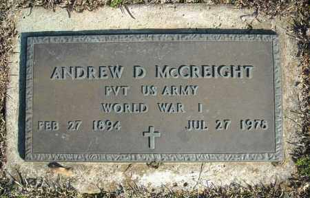 MCCREIGHT (VETERAN WWI), ANDREW D - Faulkner County, Arkansas | ANDREW D MCCREIGHT (VETERAN WWI) - Arkansas Gravestone Photos