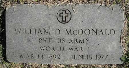 MCDONALD (VETERAN WWI), WILLIAM D. - Faulkner County, Arkansas | WILLIAM D. MCDONALD (VETERAN WWI) - Arkansas Gravestone Photos