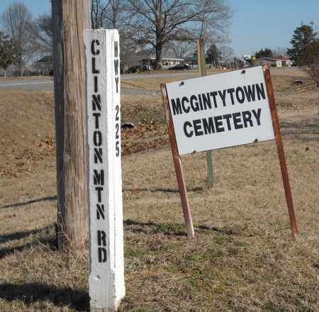 *MCGINTYTOWN SIGN AT CORNER,  - Faulkner County, Arkansas |  *MCGINTYTOWN SIGN AT CORNER - Arkansas Gravestone Photos