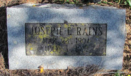 RAINS, JOSEPH EDWARD - Faulkner County, Arkansas | JOSEPH EDWARD RAINS - Arkansas Gravestone Photos