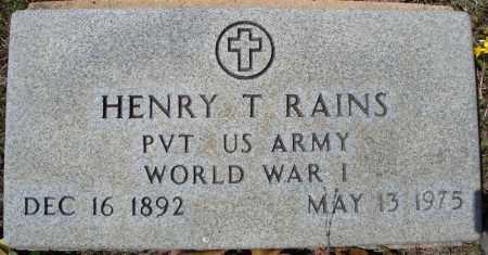 RAINS (VETERAN WWI), HENRY T - Faulkner County, Arkansas | HENRY T RAINS (VETERAN WWI) - Arkansas Gravestone Photos