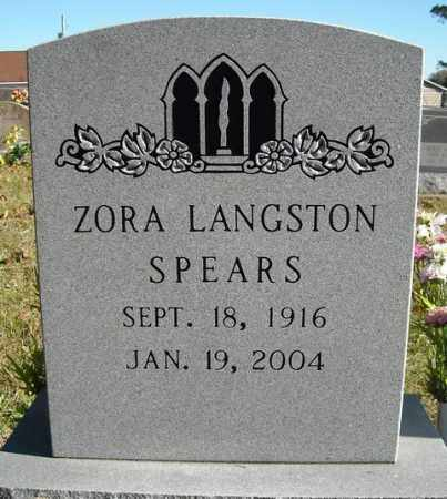 LANGSTON SPEARS, ZORA - Faulkner County, Arkansas | ZORA LANGSTON SPEARS - Arkansas Gravestone Photos