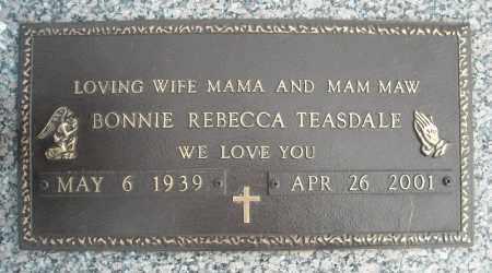 TEASDALE, BONNIE REBECCA - Faulkner County, Arkansas | BONNIE REBECCA TEASDALE - Arkansas Gravestone Photos