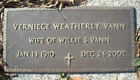 WEATHERLY VANN, VERNIECE - Faulkner County, Arkansas | VERNIECE WEATHERLY VANN - Arkansas Gravestone Photos
