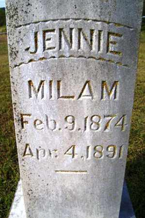 MILAM, JENNIE - Franklin County, Arkansas | JENNIE MILAM - Arkansas Gravestone Photos