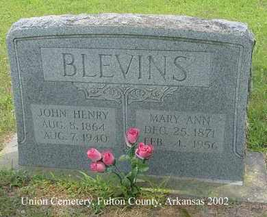BLEVINS, MARY ANN - Fulton County, Arkansas | MARY ANN BLEVINS - Arkansas Gravestone Photos
