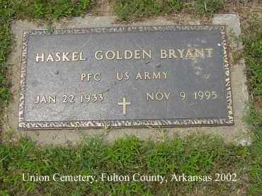 BRYANT  (VETERAN), HASKEL GOLDEN - Fulton County, Arkansas | HASKEL GOLDEN BRYANT  (VETERAN) - Arkansas Gravestone Photos