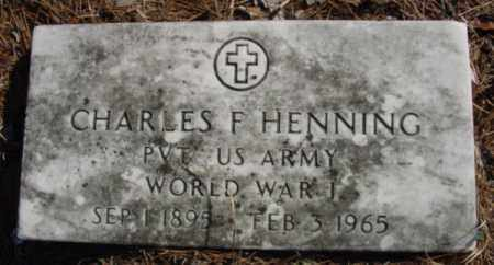 HENNING (VETERAN WWI), CHARLES F - Fulton County, Arkansas | CHARLES F HENNING (VETERAN WWI) - Arkansas Gravestone Photos
