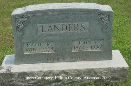 "LANDERS, JOHN ALEXANDER ""ALEX"" - Fulton County, Arkansas | JOHN ALEXANDER ""ALEX"" LANDERS - Arkansas Gravestone Photos"