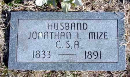 MIZE, JONATHAN L. - Fulton County, Arkansas | JONATHAN L. MIZE - Arkansas Gravestone Photos