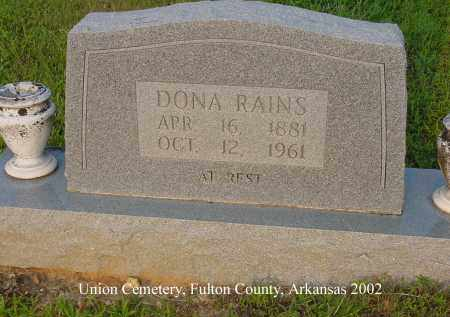 RAINS, DONNA - Fulton County, Arkansas | DONNA RAINS - Arkansas Gravestone Photos