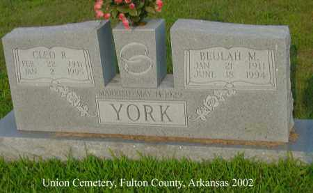YORK, CLEO R. - Fulton County, Arkansas | CLEO R. YORK - Arkansas Gravestone Photos