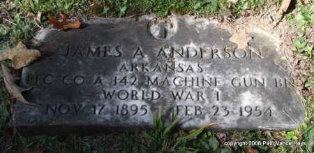 ANDERSON (VETERAN WWI), JAMES ALVIN - Garland County, Arkansas | JAMES ALVIN ANDERSON (VETERAN WWI) - Arkansas Gravestone Photos