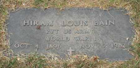 BAIN (VETERAN WWI), HIRAM LOUIS - Garland County, Arkansas | HIRAM LOUIS BAIN (VETERAN WWI) - Arkansas Gravestone Photos