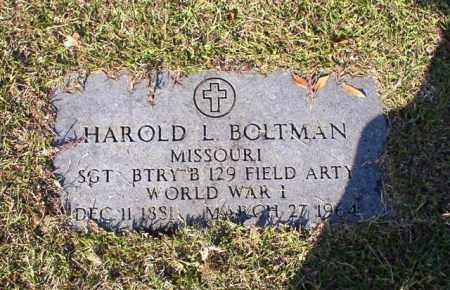 BOLTMAN (VETERAN WWI), HAROLD L - Garland County, Arkansas | HAROLD L BOLTMAN (VETERAN WWI) - Arkansas Gravestone Photos