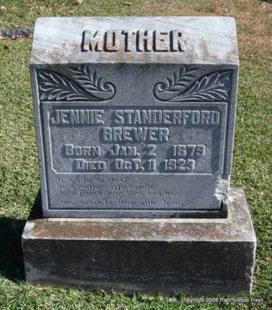 STANDERFORD BREWER, JENNIE - Garland County, Arkansas | JENNIE STANDERFORD BREWER - Arkansas Gravestone Photos
