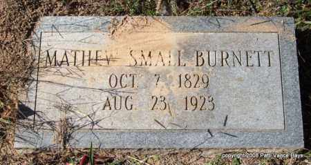 BURNETT, MATHEW SMALL - Garland County, Arkansas | MATHEW SMALL BURNETT - Arkansas Gravestone Photos