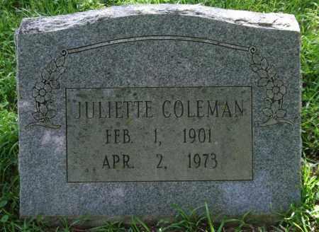 COLEMAN, JULIETTE - Garland County, Arkansas | JULIETTE COLEMAN - Arkansas Gravestone Photos