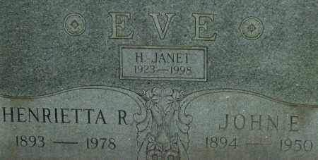 EVE, H. JANET - Garland County, Arkansas | H. JANET EVE - Arkansas Gravestone Photos