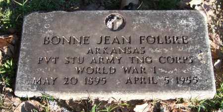 FOLBRE (VETERAN WWI), BONNIE JEAN - Garland County, Arkansas | BONNIE JEAN FOLBRE (VETERAN WWI) - Arkansas Gravestone Photos