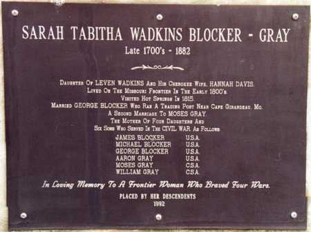 WADKINS GRAY, SARAH TABITHA BLOCKER - Garland County, Arkansas | SARAH TABITHA BLOCKER WADKINS GRAY - Arkansas Gravestone Photos