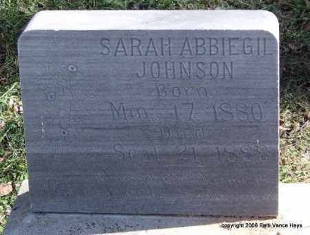 JOHNSON, SARAH ABBIEGIL - Garland County, Arkansas | SARAH ABBIEGIL JOHNSON - Arkansas Gravestone Photos