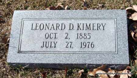 KIMERY, LEONARD D. - Garland County, Arkansas | LEONARD D. KIMERY - Arkansas Gravestone Photos