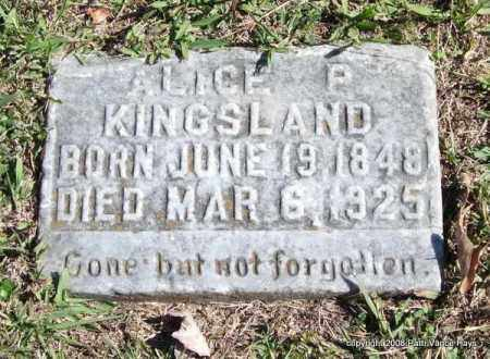 KINGSLAND, ALICE P. - Garland County, Arkansas | ALICE P. KINGSLAND - Arkansas Gravestone Photos