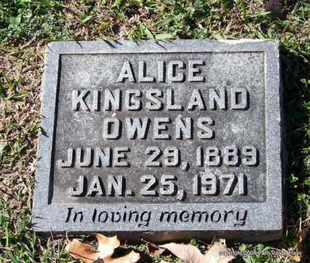 KINGSLAND OWENS, ALICE - Garland County, Arkansas | ALICE KINGSLAND OWENS - Arkansas Gravestone Photos