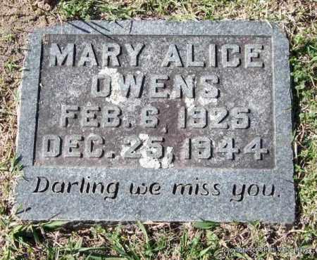 OWENS, MARY ALICE - Garland County, Arkansas | MARY ALICE OWENS - Arkansas Gravestone Photos