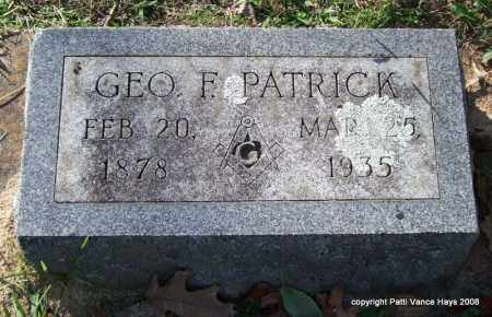 PATRICK, GEORGE F. - Garland County, Arkansas | GEORGE F. PATRICK - Arkansas Gravestone Photos
