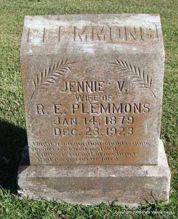 PLEMMONS, JENNIE V. - Garland County, Arkansas | JENNIE V. PLEMMONS - Arkansas Gravestone Photos