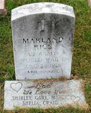 RICE (VETERAN WWII), MARLAND - Garland County, Arkansas | MARLAND RICE (VETERAN WWII) - Arkansas Gravestone Photos