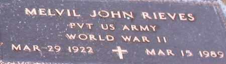 RIEVES (VETERAN WWII), MELVIL JOHN (CLOSE UP) - Garland County, Arkansas | MELVIL JOHN (CLOSE UP) RIEVES (VETERAN WWII) - Arkansas Gravestone Photos