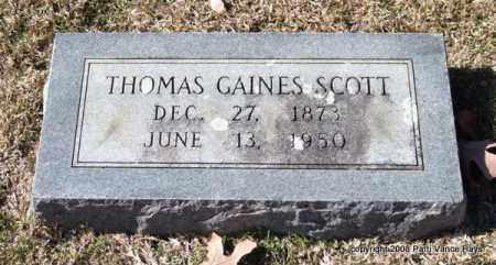 SCOTT, THOMAS GAINES - Garland County, Arkansas | THOMAS GAINES SCOTT - Arkansas Gravestone Photos