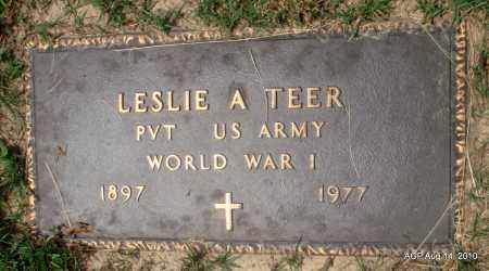 TEER (VETERAN WWI), LESLIE A - Grant County, Arkansas | LESLIE A TEER (VETERAN WWI) - Arkansas Gravestone Photos