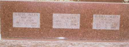 ALLEN, MATTIE [MELISSA] - Greene County, Arkansas | MATTIE [MELISSA] ALLEN - Arkansas Gravestone Photos