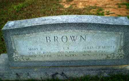 CRABTREE BROWN, JULIA - Greene County, Arkansas | JULIA CRABTREE BROWN - Arkansas Gravestone Photos