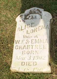 CRABTREE, ALICE LORENA - Greene County, Arkansas | ALICE LORENA CRABTREE - Arkansas Gravestone Photos