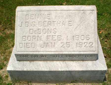 DEBONS, BENNIE - Greene County, Arkansas | BENNIE DEBONS - Arkansas Gravestone Photos