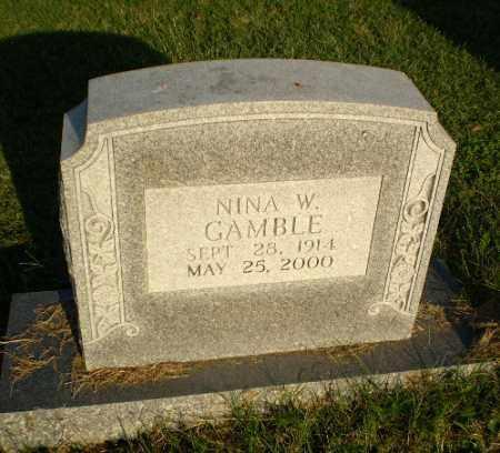 GAMBLE, NINA W - Greene County, Arkansas | NINA W GAMBLE - Arkansas Gravestone Photos