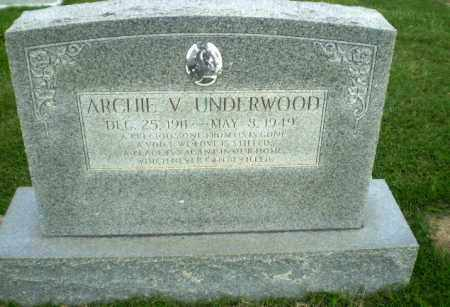 UNDERWOOD, ARCHIE V - Greene County, Arkansas | ARCHIE V UNDERWOOD - Arkansas Gravestone Photos