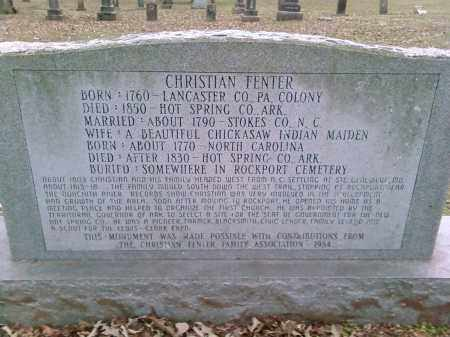 FENTER, CHRISTIAN - Hot Spring County, Arkansas | CHRISTIAN FENTER - Arkansas Gravestone Photos