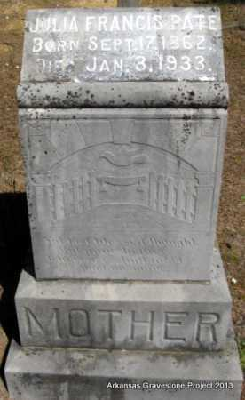 PATE, JULIA FRANCIS - Hot Spring County, Arkansas | JULIA FRANCIS PATE - Arkansas Gravestone Photos