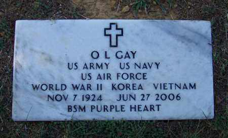 GAY (VETERAN 3 WARS), O L - Independence County, Arkansas | O L GAY (VETERAN 3 WARS) - Arkansas Gravestone Photos